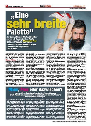 Dr. Michael PDr. Michael Peintner im Interview mit der neuen Südtirol Tageszeitung über Gender und sexuelle Identitäten.eintner im Interview mit der neuen Südtirol Tageszeitung über Gender und sexuelle Identitäten 2016