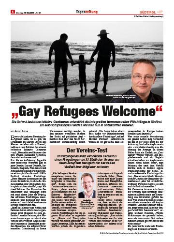 """Dr. Michael Peintner im Interview mit der neuen Südtirol Tageszeitung über Gay Refugees """"Welcome Integration"""" homosexueller Flüchtlinge 2016"""