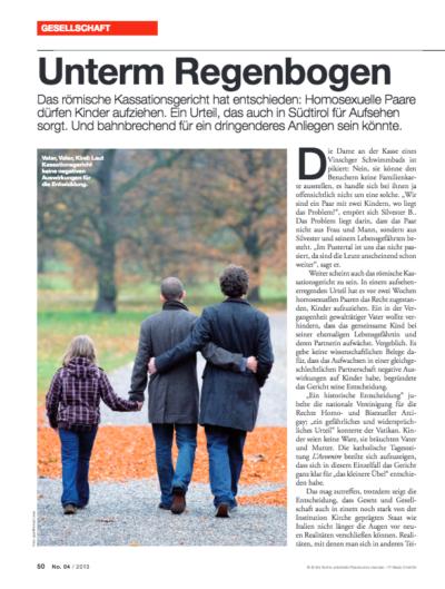michael peintner Artikel ff Unterm Regenbogen Kassationsgericht Kinder Adoption Homosexuelles Paar 2013