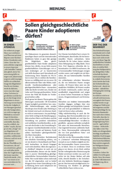 Dr. Michael Peintner, Rubrik Meinung in der Zett: Sollen gleichgeschlechtliche Paare Kinder adoptieren dürfen? Auch in Südtirol Gleichstellung der EU-Vorgaben.