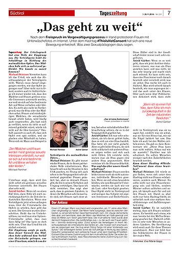 Dr. Michael Peintner im Interview mit der neuen Südtirol Tageszeitung über den Freispruch im Vergewaltigungsprozess in Irland.